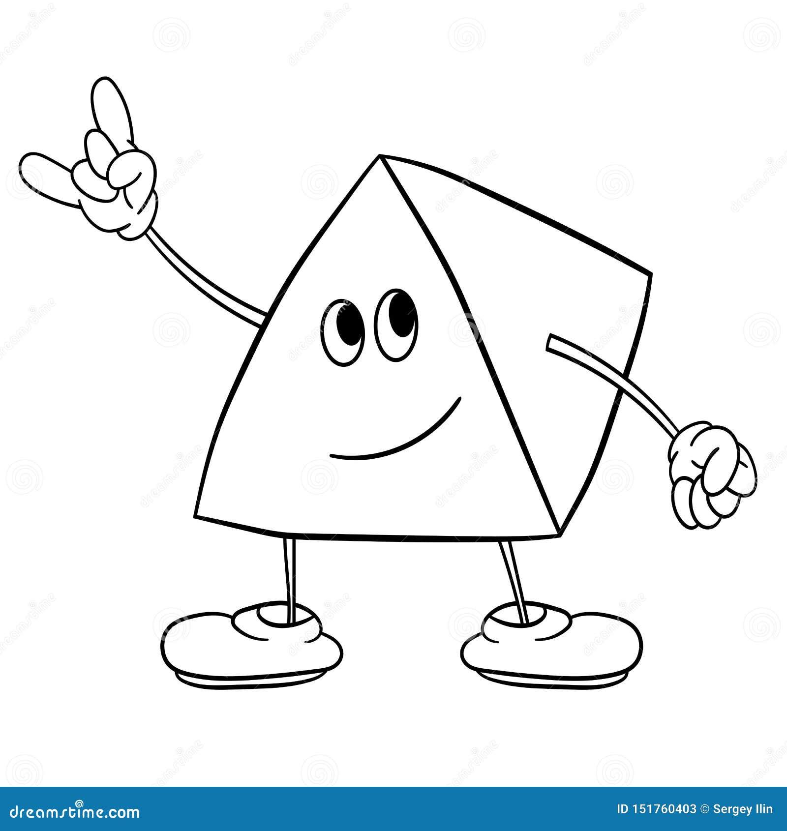 O smiley engraçado do triângulo com pés e olhos mostra um sinal da vitória Livro para colorir para crian?as