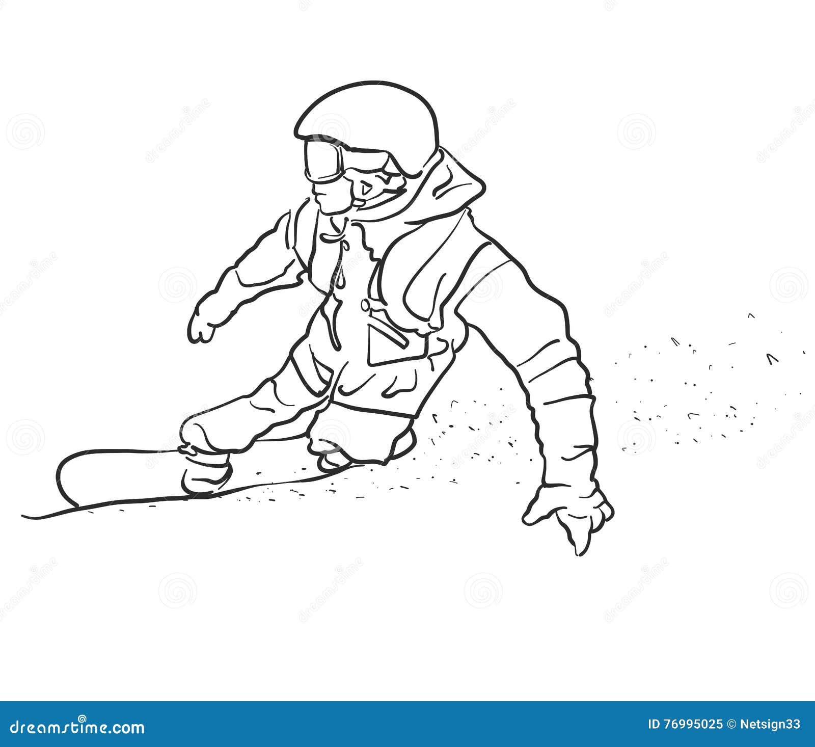 O Snowboarder do estilo livre toma o esboço da curva