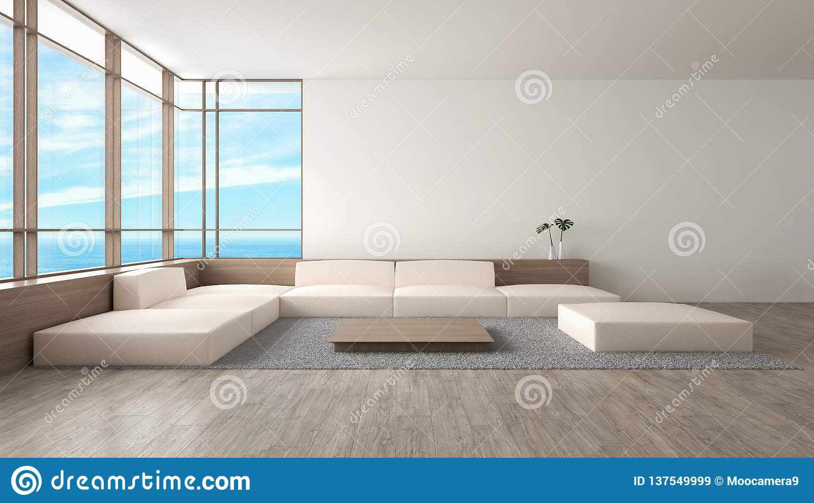 O sofá de madeira do assoalho da sala de visitas interior moderna ajustou a rendição do verão 3d da opinião do mar
