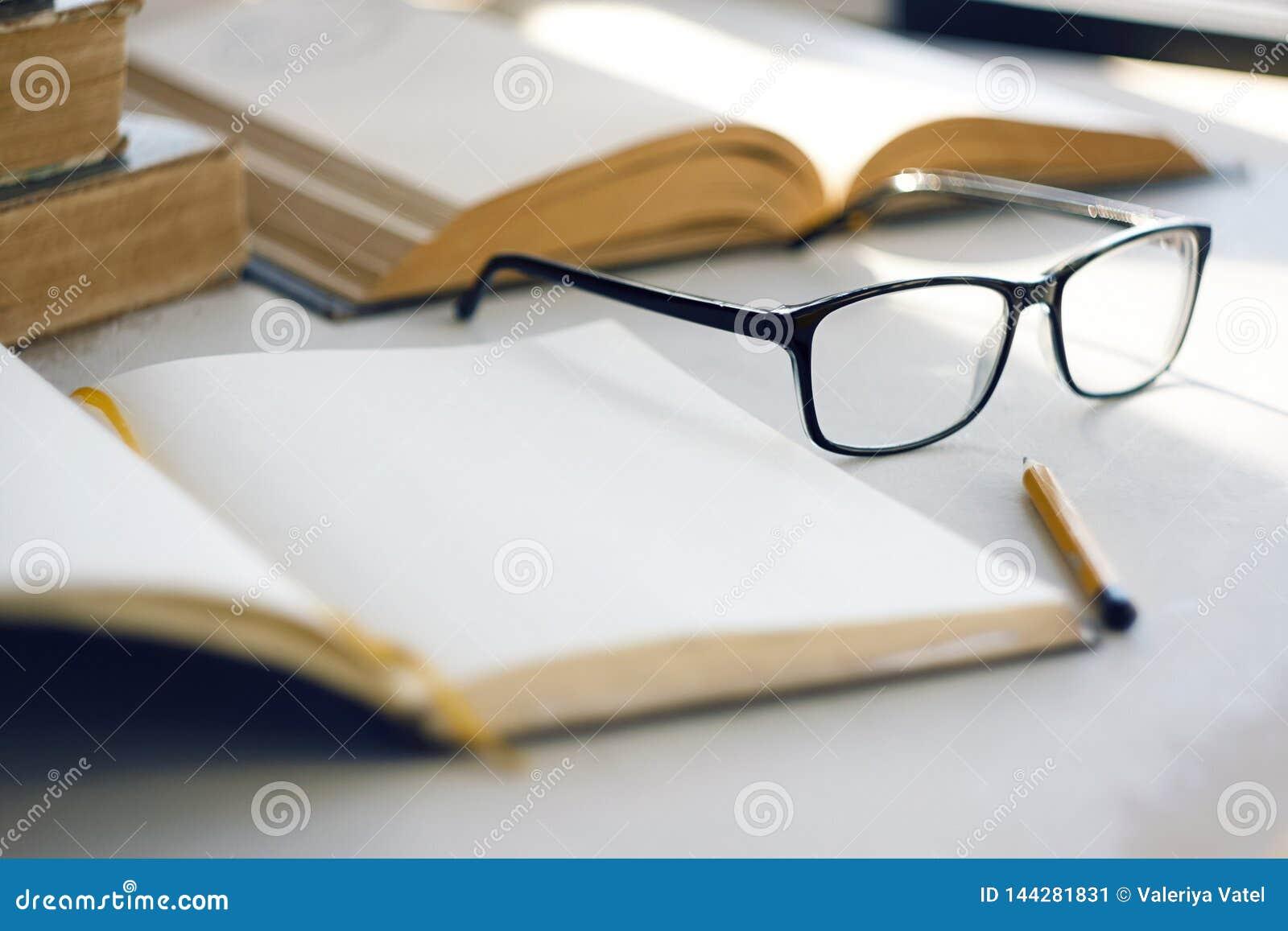 O sol brilhante ilumina enciclopédias velhas, um caderno, um lápis simples e vidros