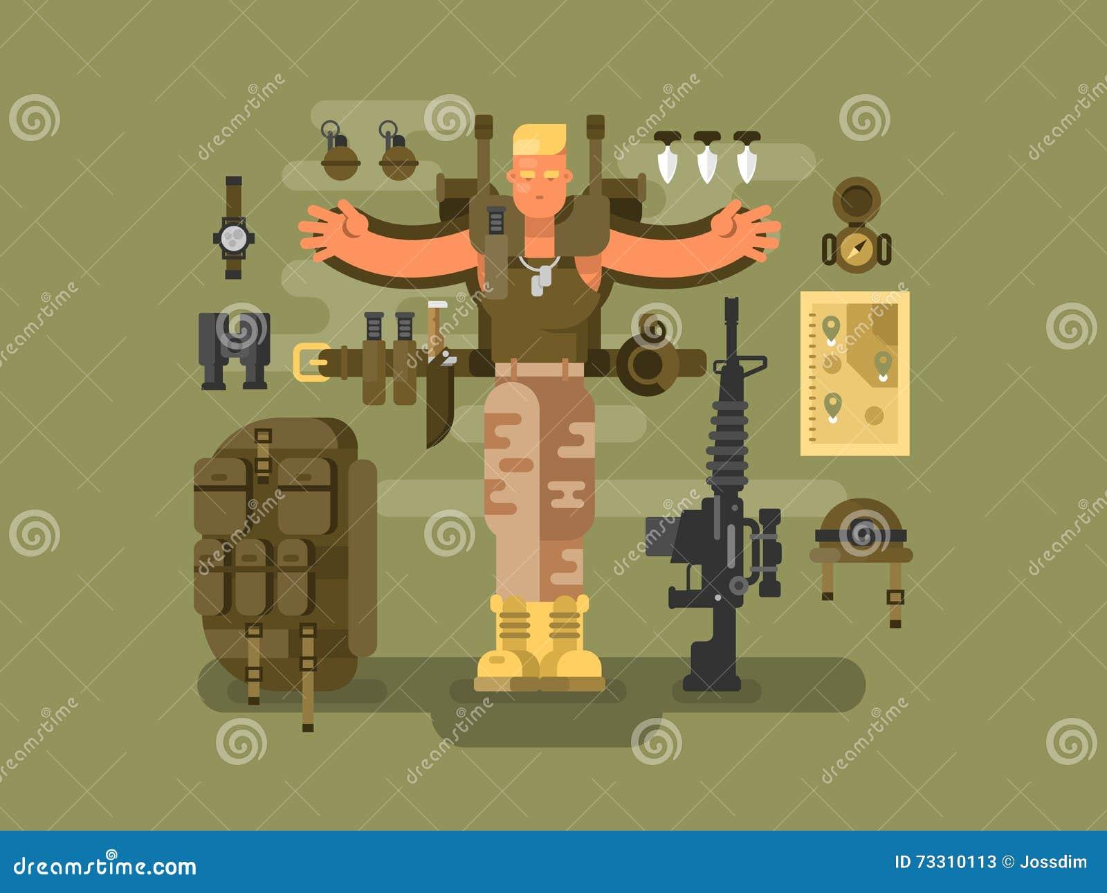 O soldado e a munição projetam horizontalmente