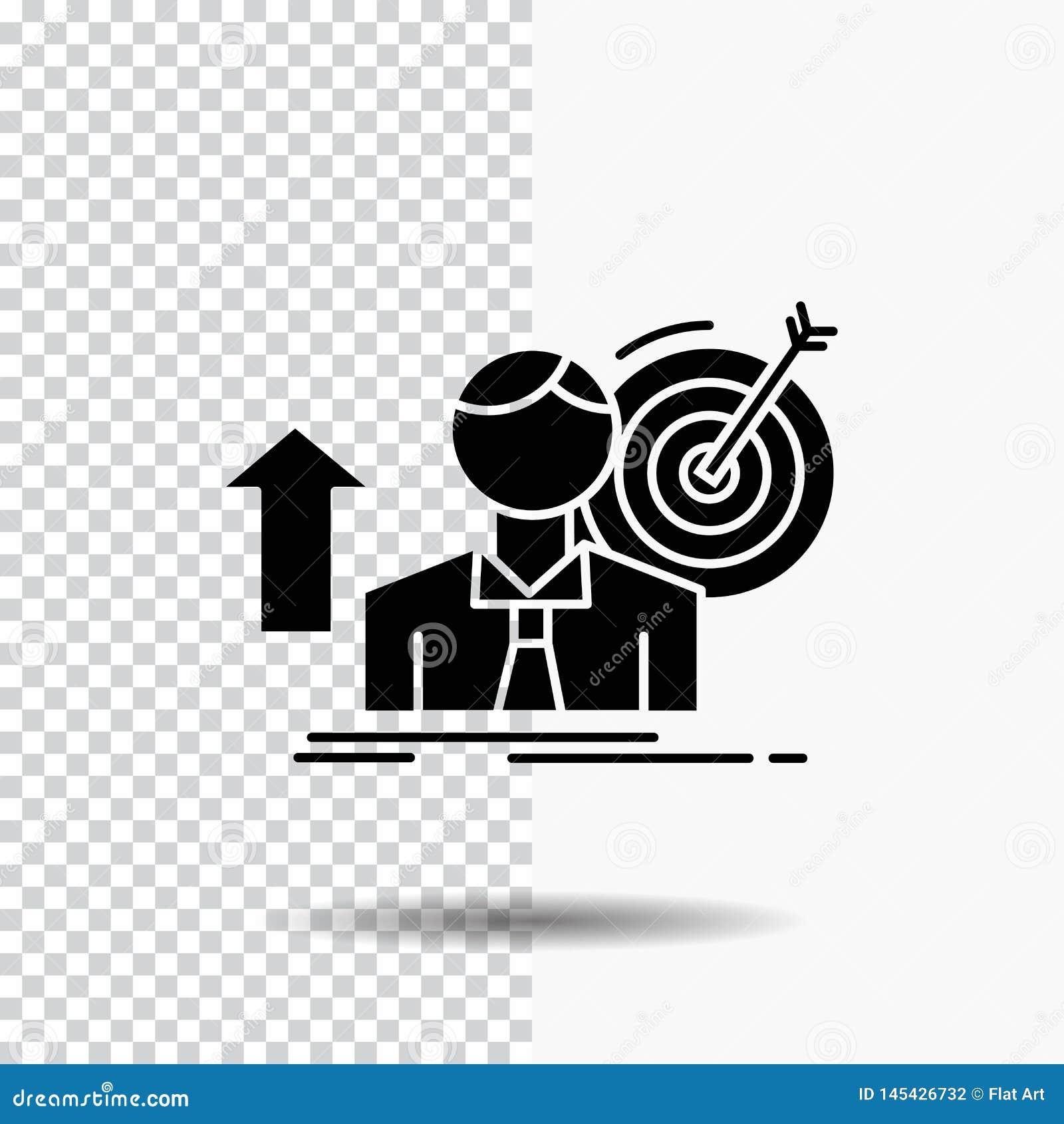 O sucesso, usuário, alvo, consegue, ícone do Glyph do crescimento no fundo transparente ?cone preto