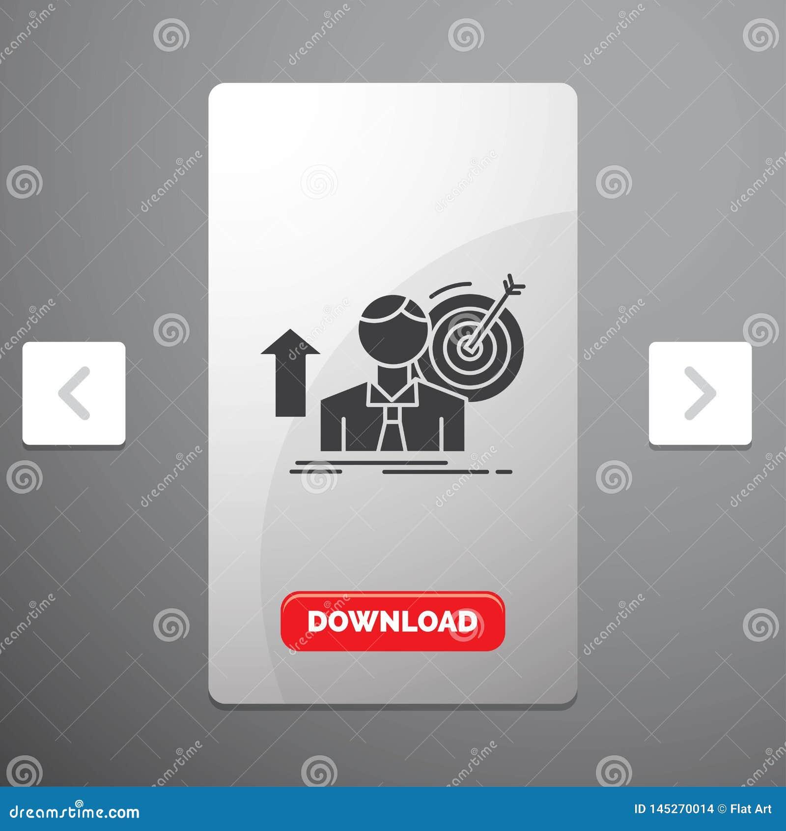 O sucesso, usuário, alvo, consegue, ícone do Glyph do crescimento no projeto do slider das paginações do Carousal & botão vermelh