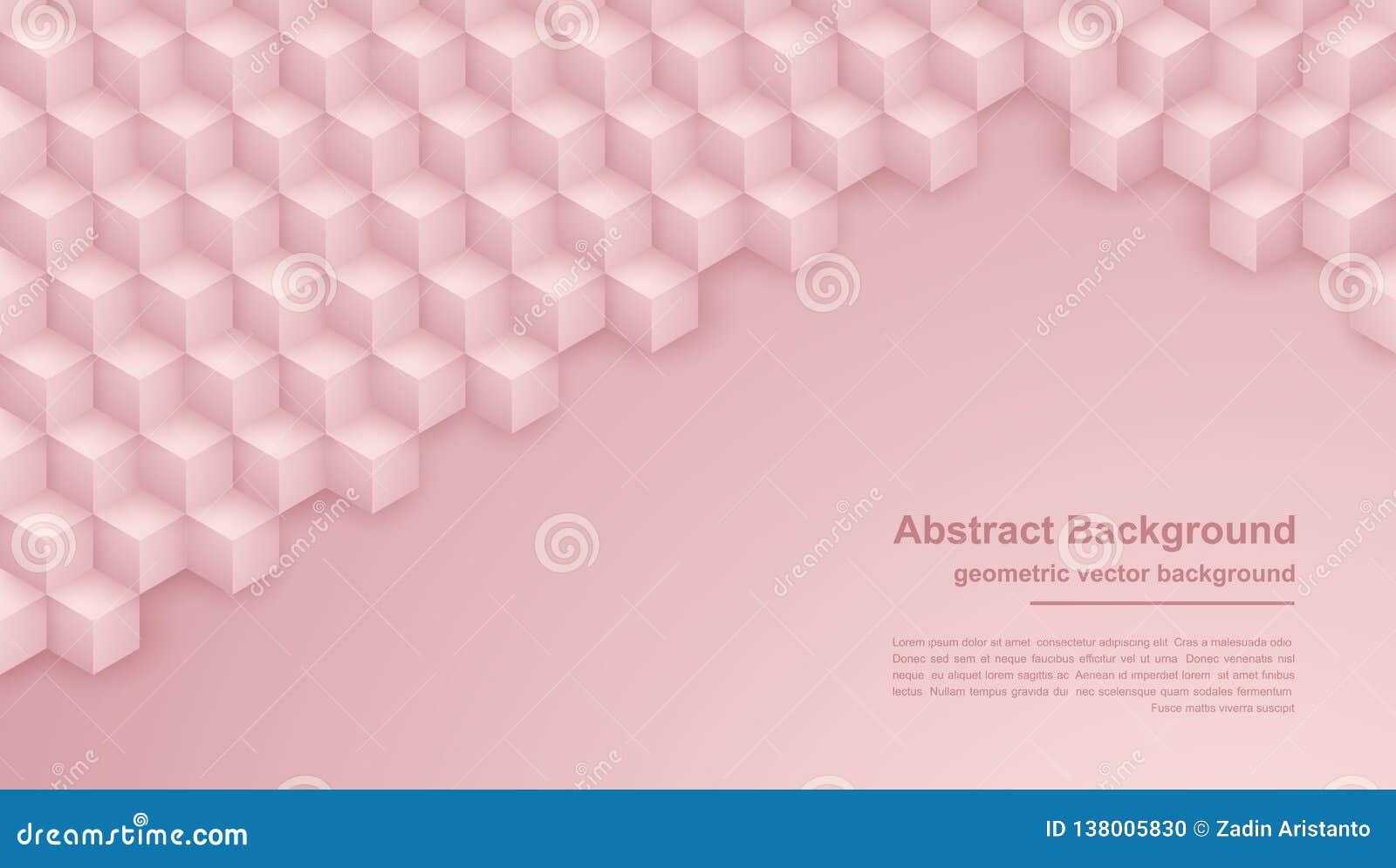 O sumário aumentou o ouro, fundo cor-de-rosa da textura com formas do hexágono o fundo do vetor 3D pode ser usado para cartazes,