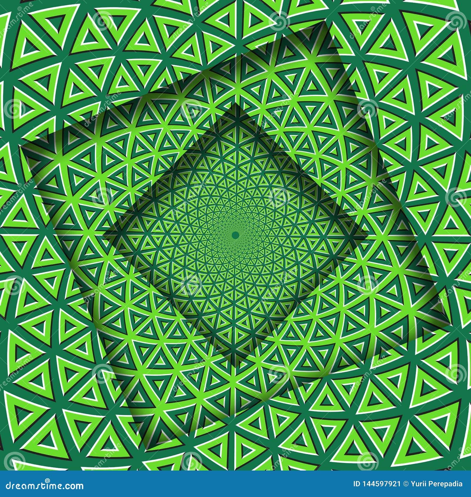 O sumário girou quadros com um teste padrão triangular de gerencio dos elementos do cal verde Fundo da ilus?o ?tica