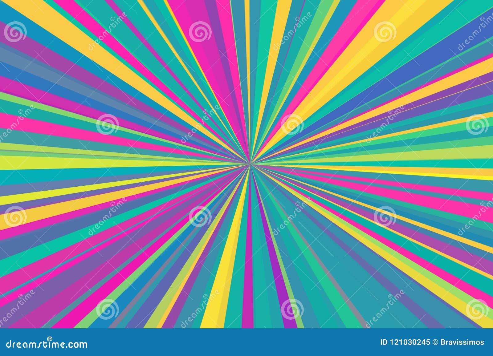 O sumário multicolorido irradia o fundo Teste padrão colorido do feixe das listras Cores modernas da tendência da ilustração à mo