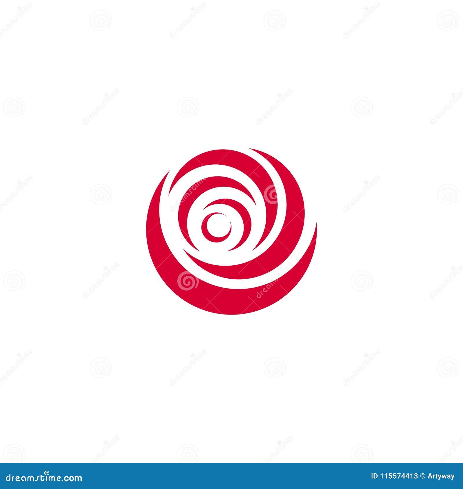 O sumário vermelho aumentou, molde do logotipo do vetor no fundo branco Ilustração à moda da flor, forma circular, projeto do arc