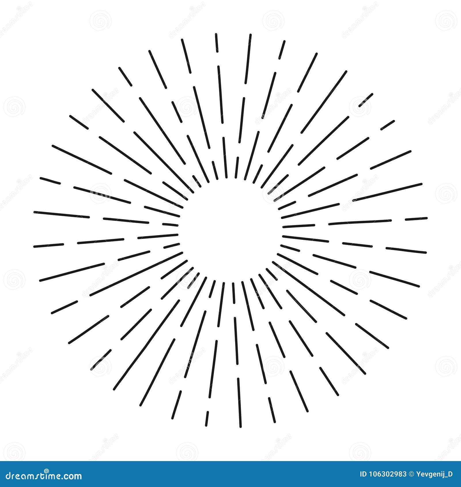 O sunburst do vintage nas linhas forma, radial linear estourou o sol retro para a cultura do moderno