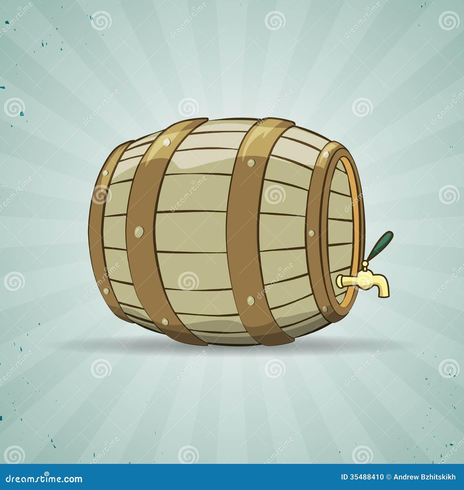 O tambor de madeira velho encheu-se com o vinho natural ou