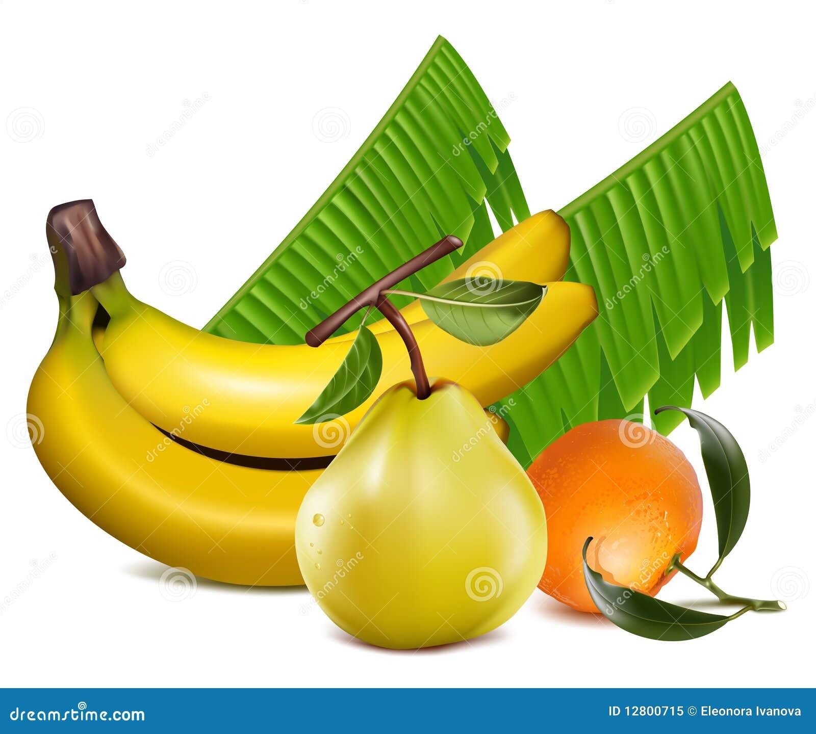 O tangerine fresco frutifica com folhas verdes, banana a