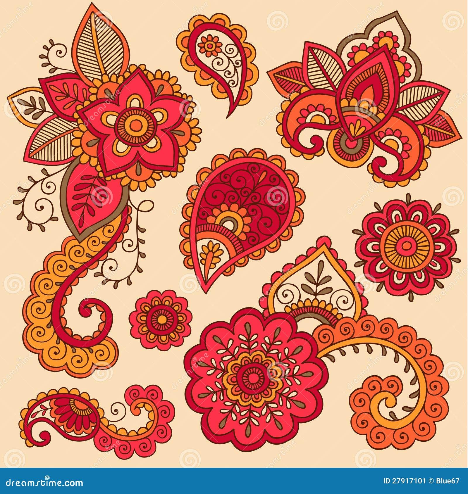 O tatuagem colorido de Mehndi do Henna Doodles o vetor