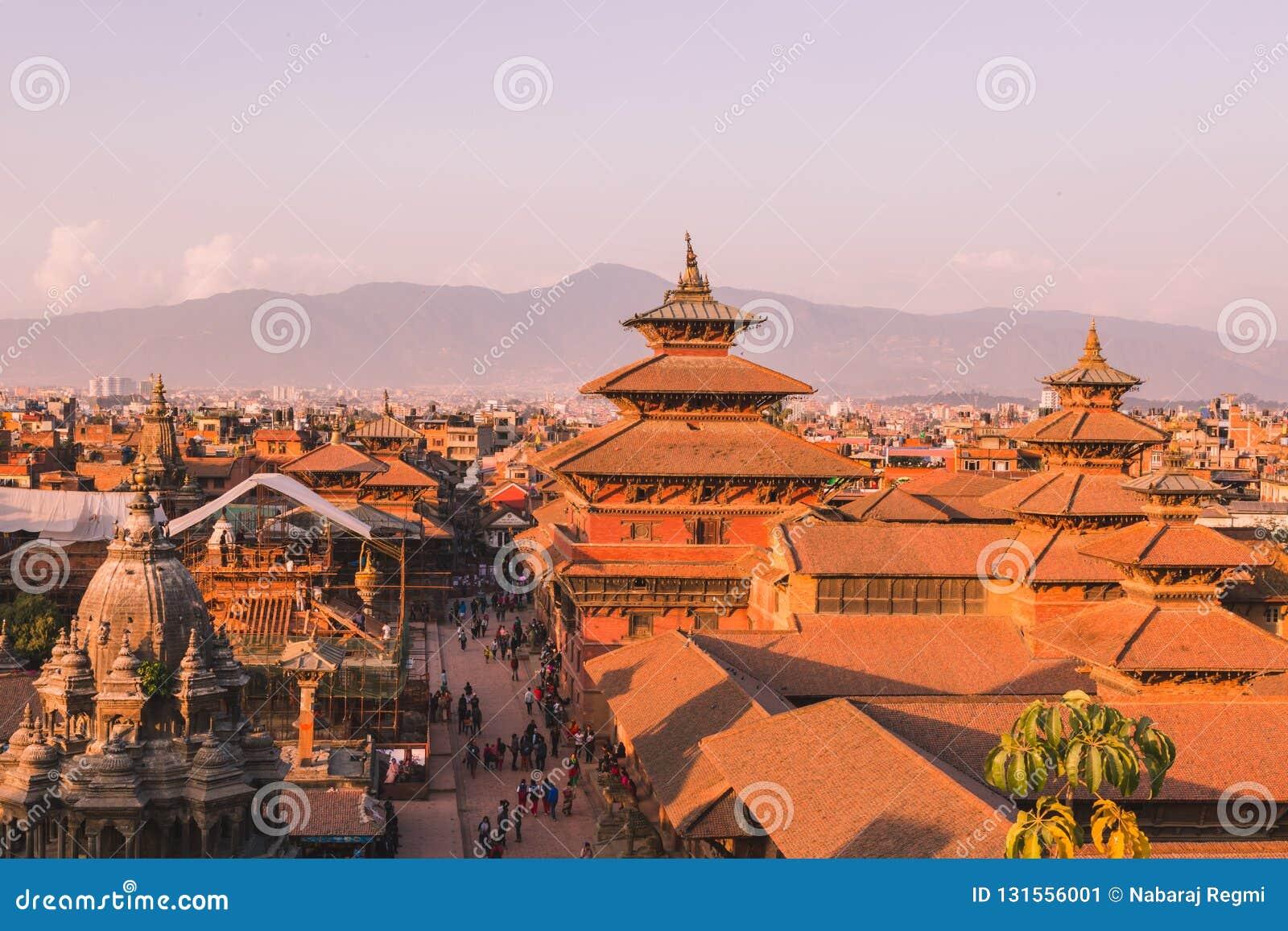 O templo de Patan, quadrado de Patan Durbar é situado no centro de Lalitpur, Nepal É um dos três quadrados de Durbar no