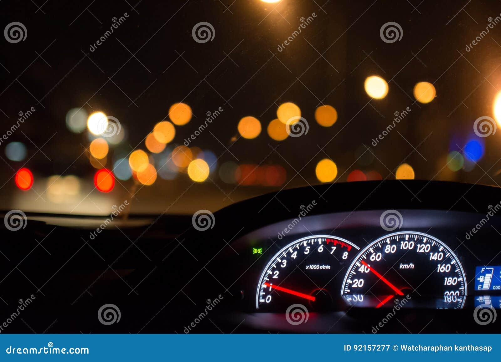 O tempo da movimentação do carro na cidade da noite