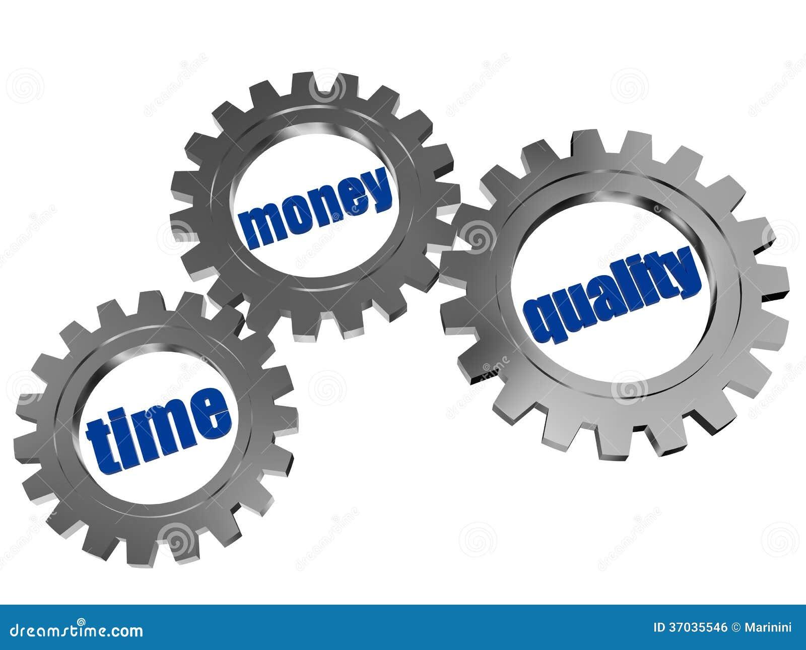 O tempo, dinheiro, qualidade no cinza de prata alinha