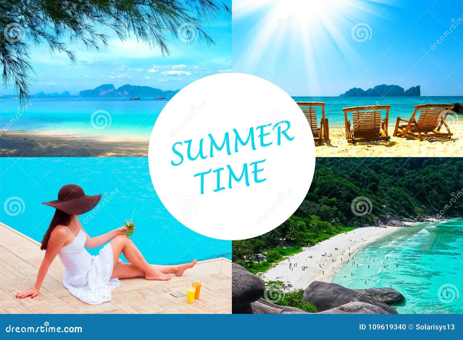 O tempo do feriado, verão, praia, curso, férias, conceito do mar