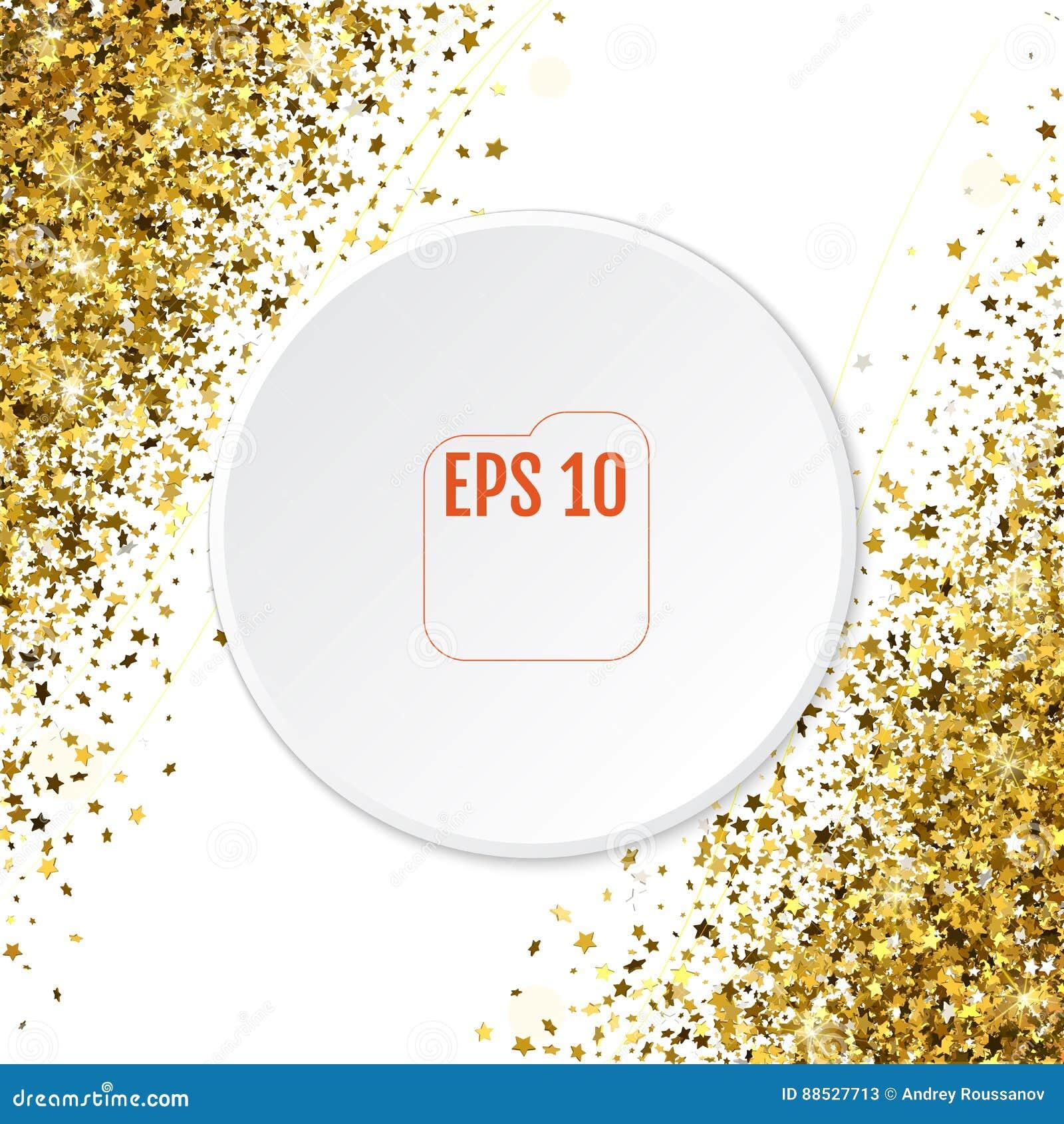 O teste padrão abstrato do ouro 3d de queda aleatório stars na parte traseira do branco