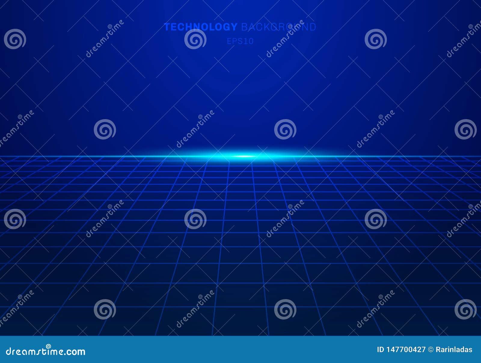 O teste padrão de grade azul do quadrado da tecnologia digital do sumário no fundo com luz explode