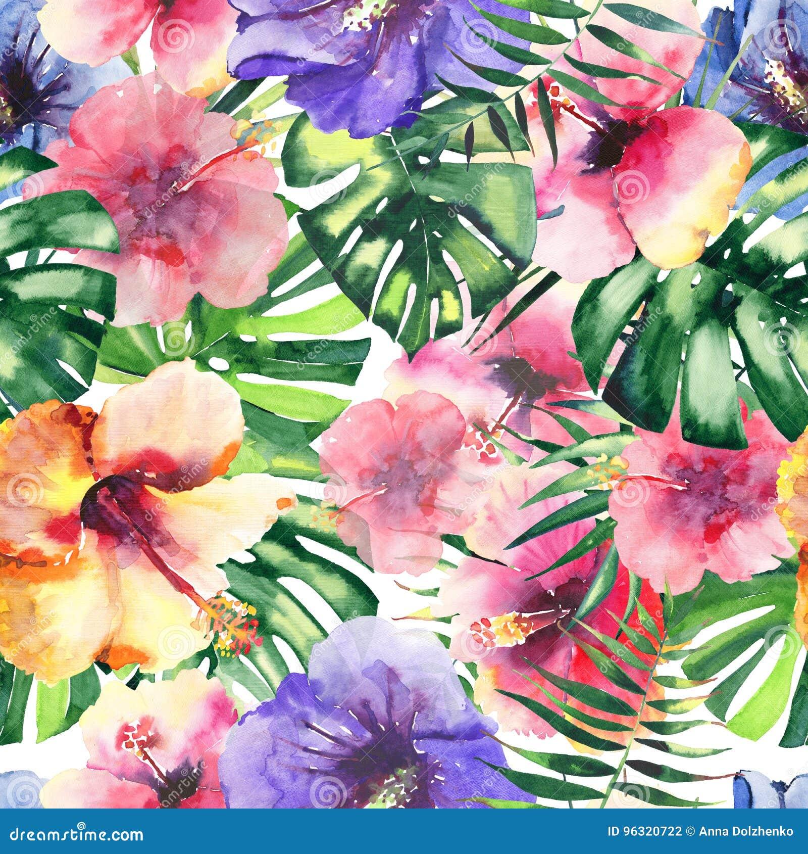 O teste padrão erval floral tropical colorido bonito brilhante bonito do verão de Havaí de flores tropicais hibiscus e palmas sae