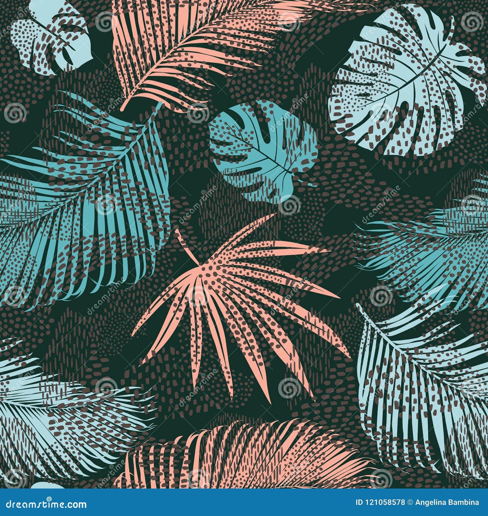 O teste padrão exótico sem emenda na moda com vegetais e animal tropicais imprime Ilustração do vetor Projeto abstrato moderno pa