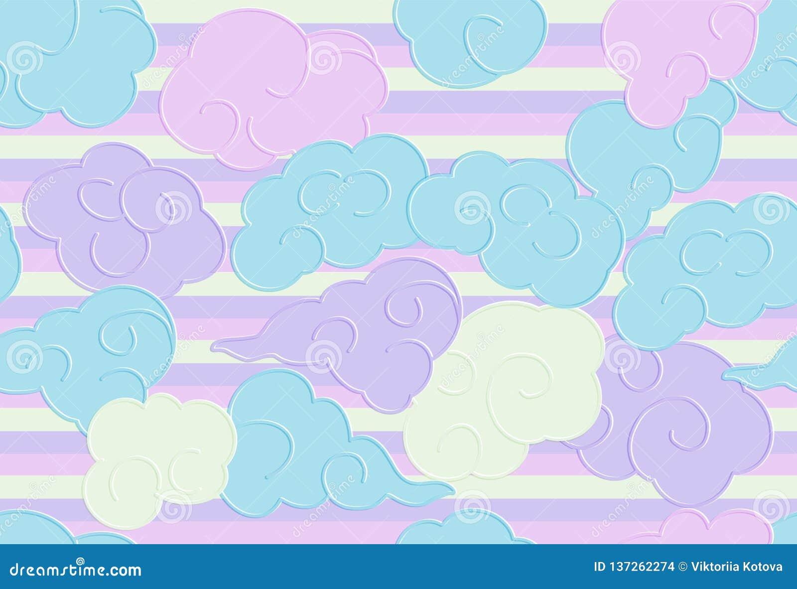 O teste padrão sem emenda com garatuja engraçada nubla-se para cópias, projetos e livros para colorir Fundo do berçário para Kidn