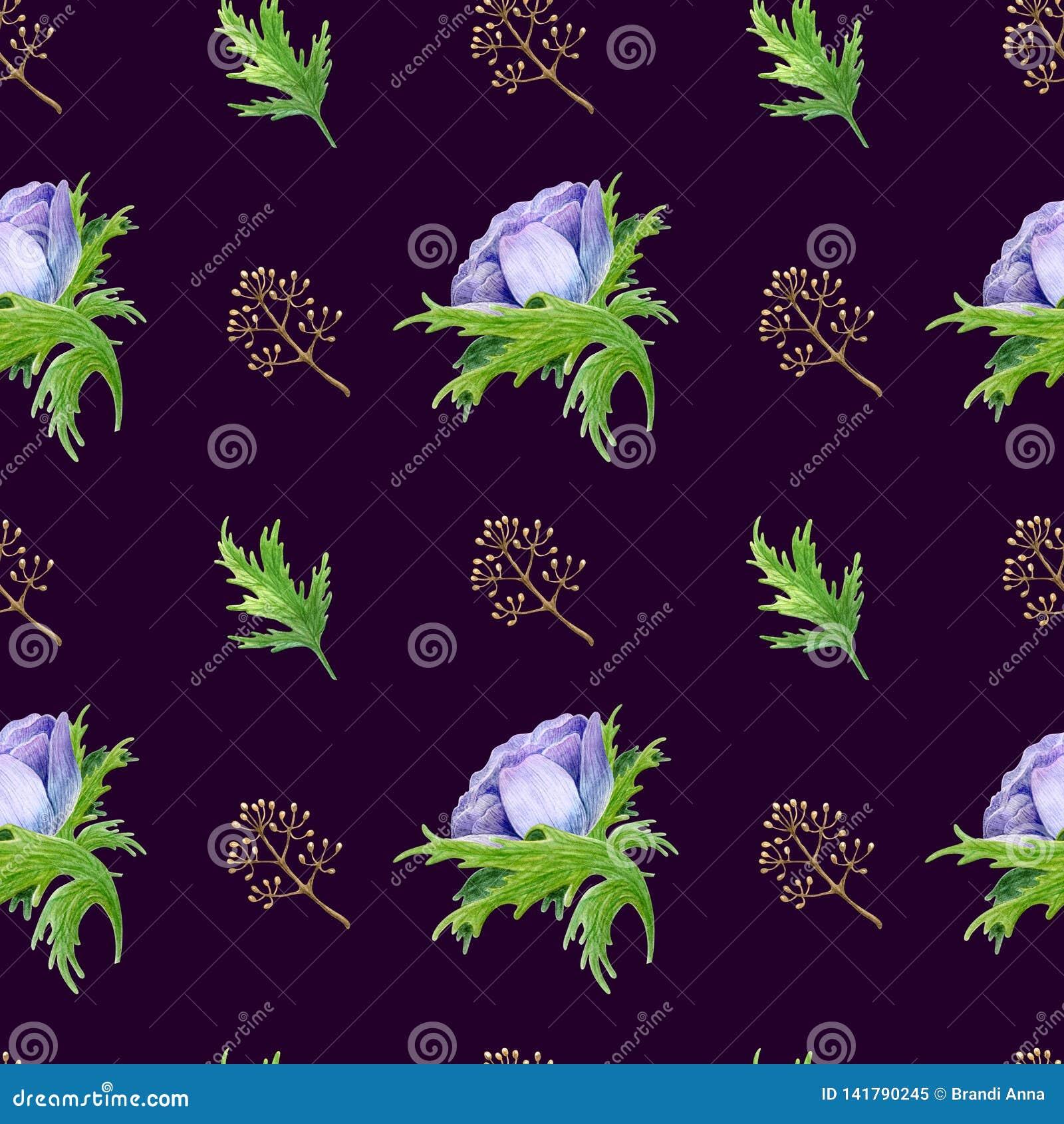 O teste padrão sem emenda com roxo branco da aquarela aumentou flores Design floral da mola para o convite do casamento