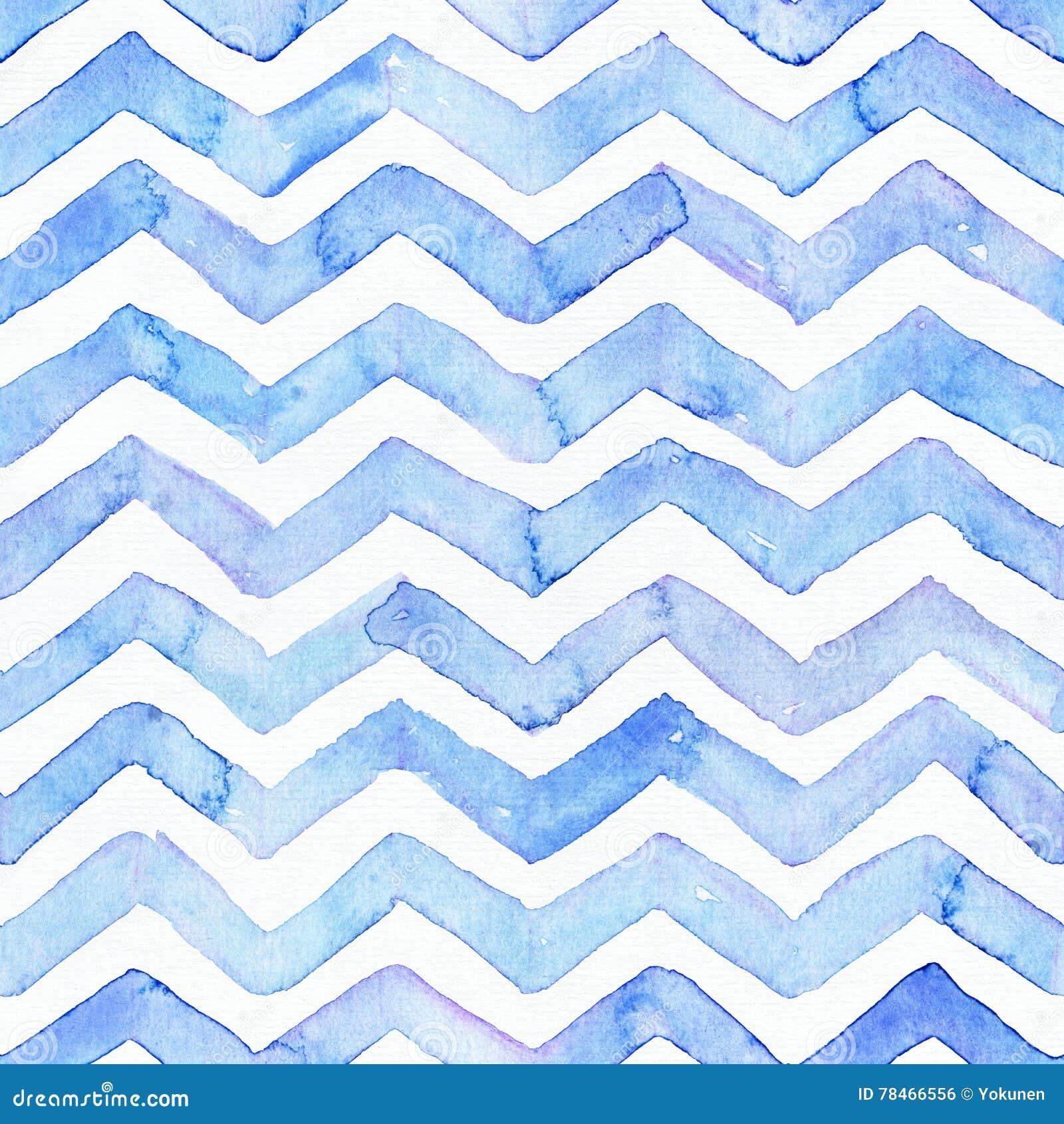 O teste padrão sem emenda da aquarela azul com as listras azuis, a mão tirada com imperfeições e a água do ziguezague espirra Pro