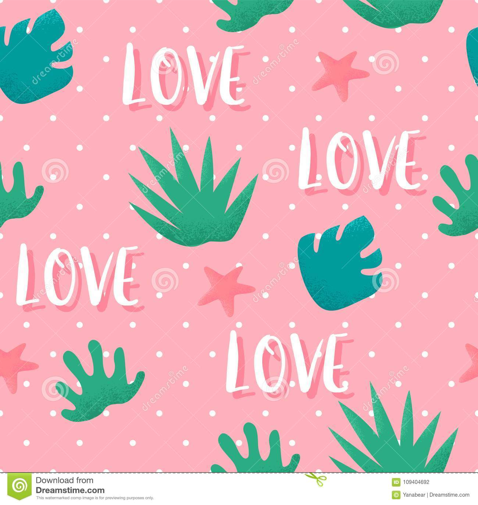 O teste padrão sem emenda do verão no às bolinhas com plantas tropicais e o texto amam no fundo cor-de-rosa Ornamento para a maté