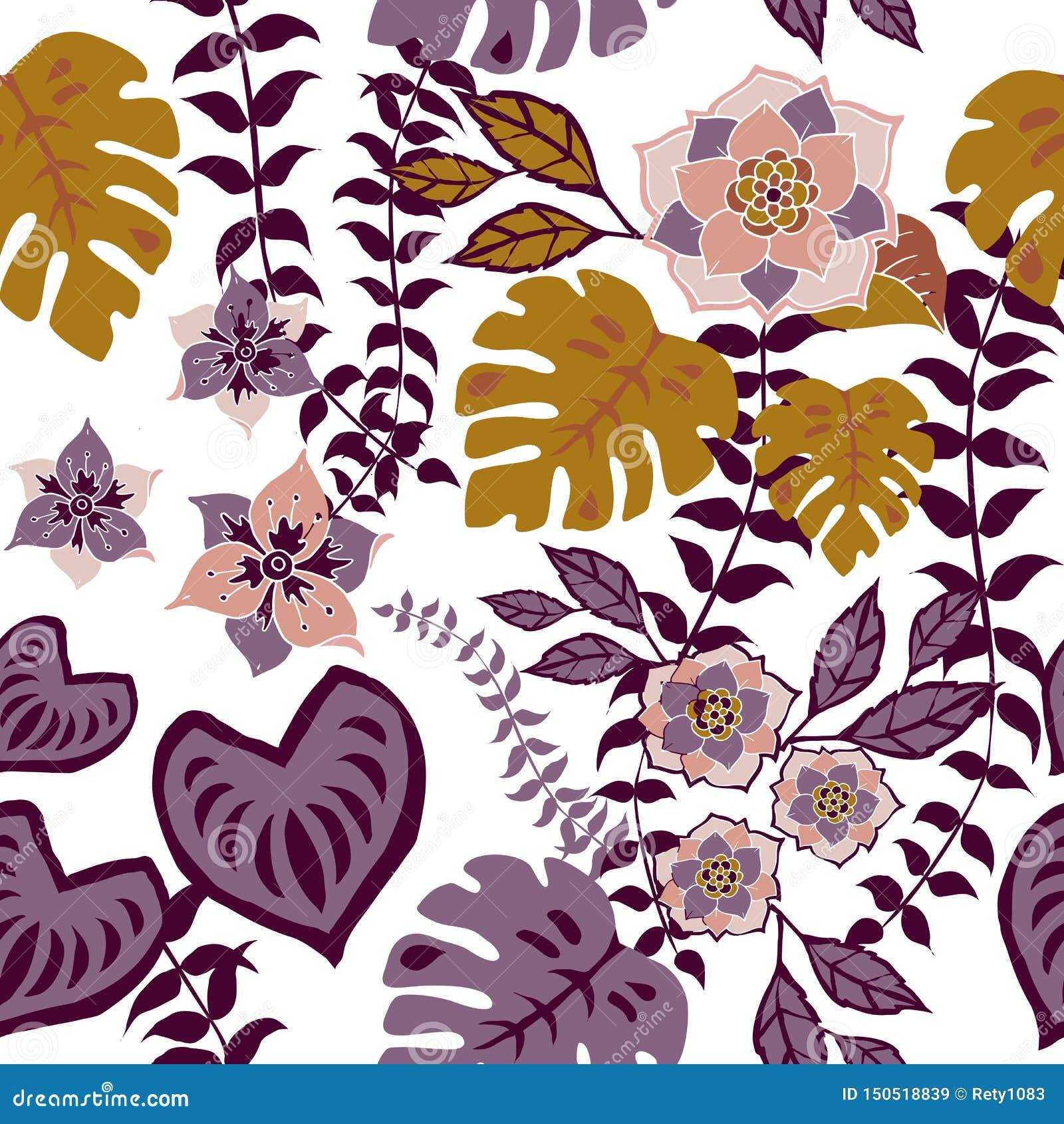 O teste padrão sem emenda floral de Tropival, flores do outono surge o teste padrão floral romântico da repetição do fundo do tes