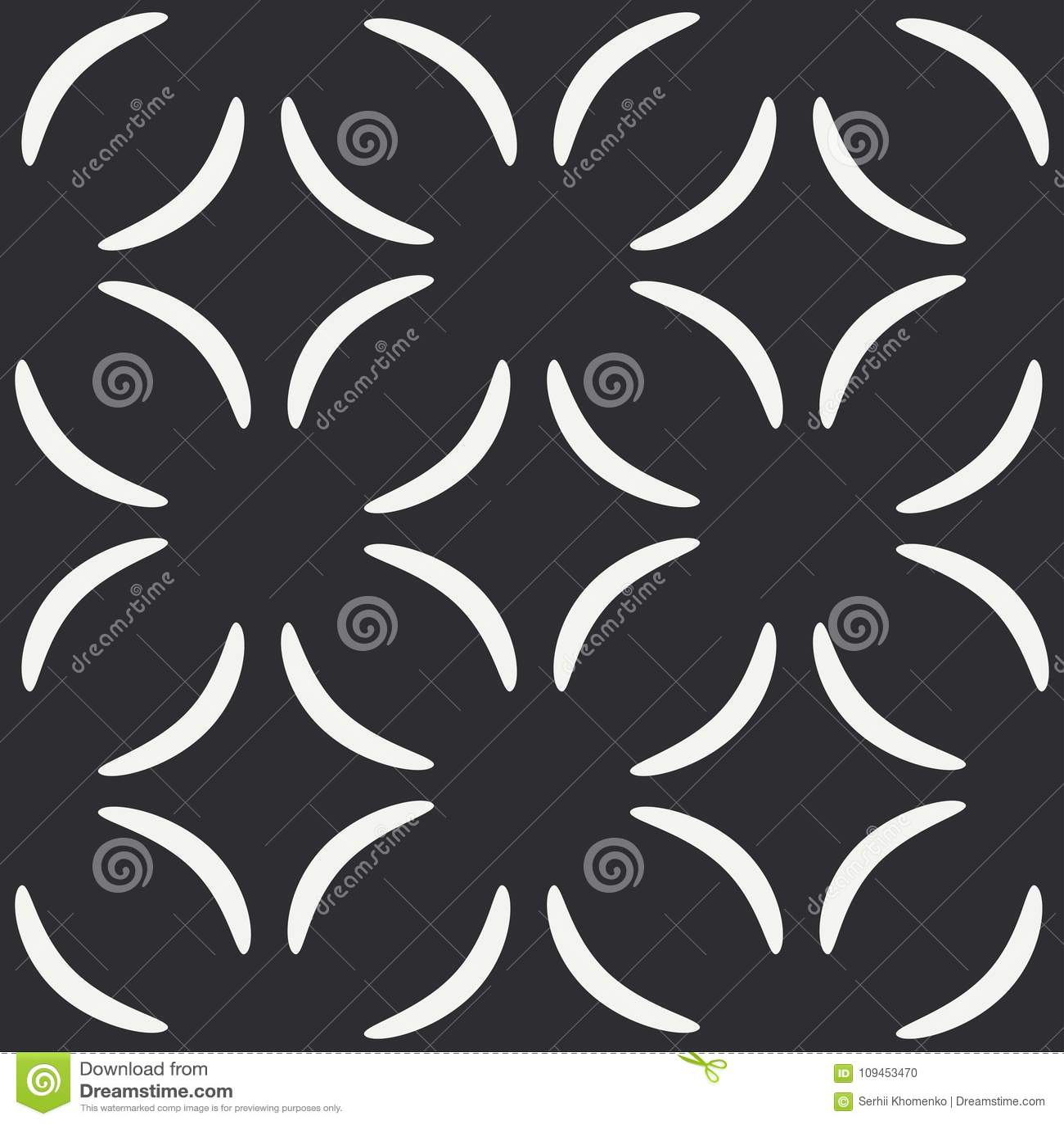 O teste padrão sem emenda liso do vetor da forma monocromática abstrata com curvatura geométrica rabisca Envolvendo garranchos do