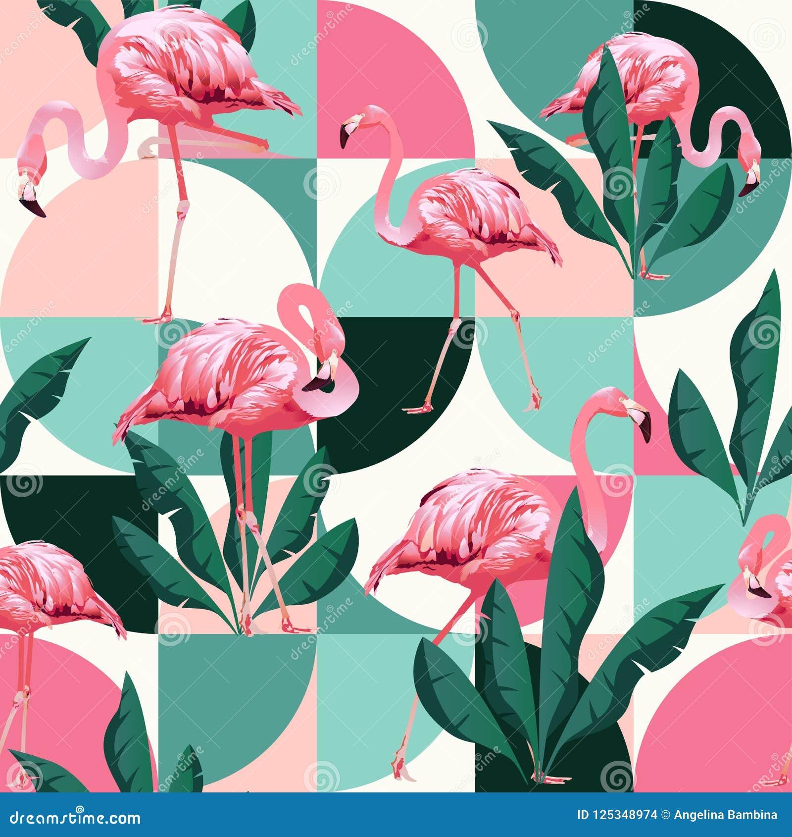 O teste padrão sem emenda na moda da praia exótica, retalhos ilustrou as folhas tropicais da banana do vetor floral Flamingos cor
