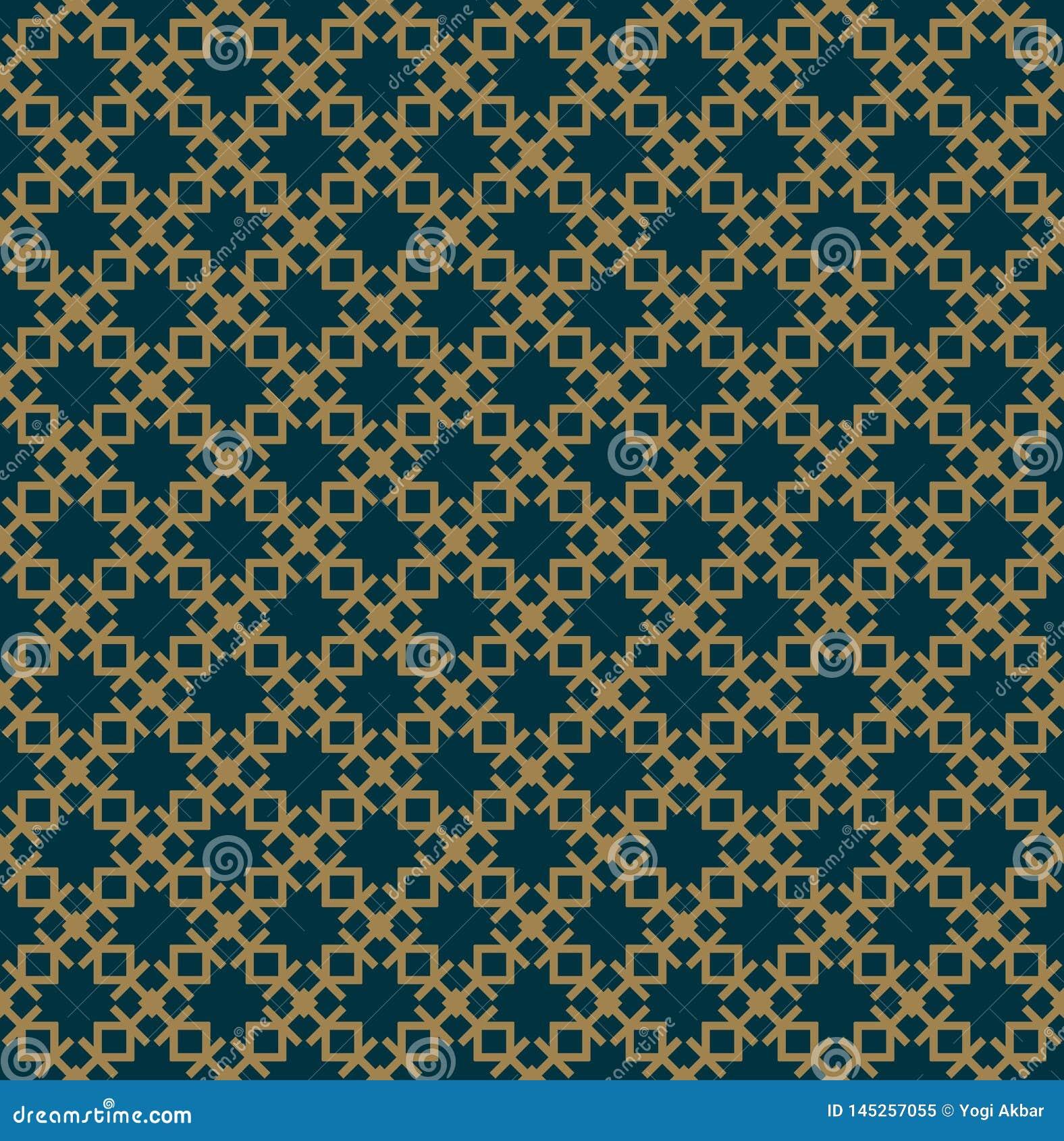 O teste padr?o sem emenda abstrato, Vector o teste padr?o sem emenda Repetindo o ornamento geom?trico cor azul do ouro luxuoso
