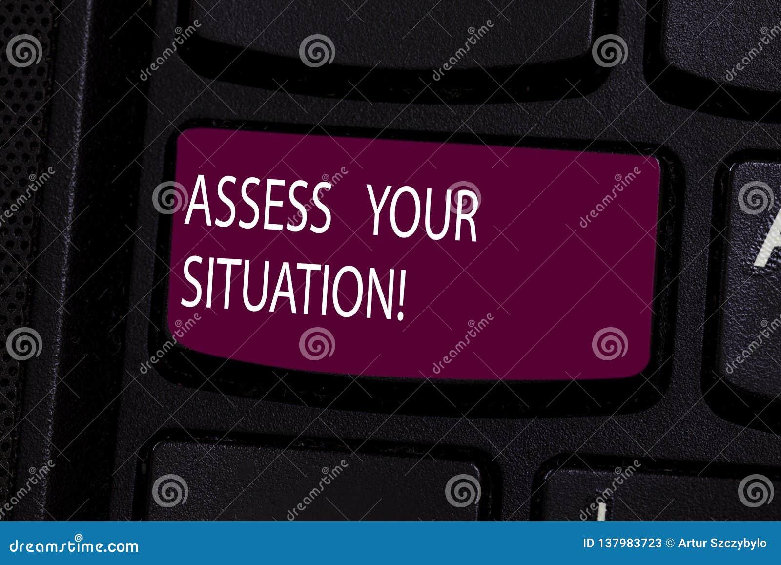 O texto da escrita avalia sua situação Significado do conceito que julga uma situação após observado todo o teclado da informação