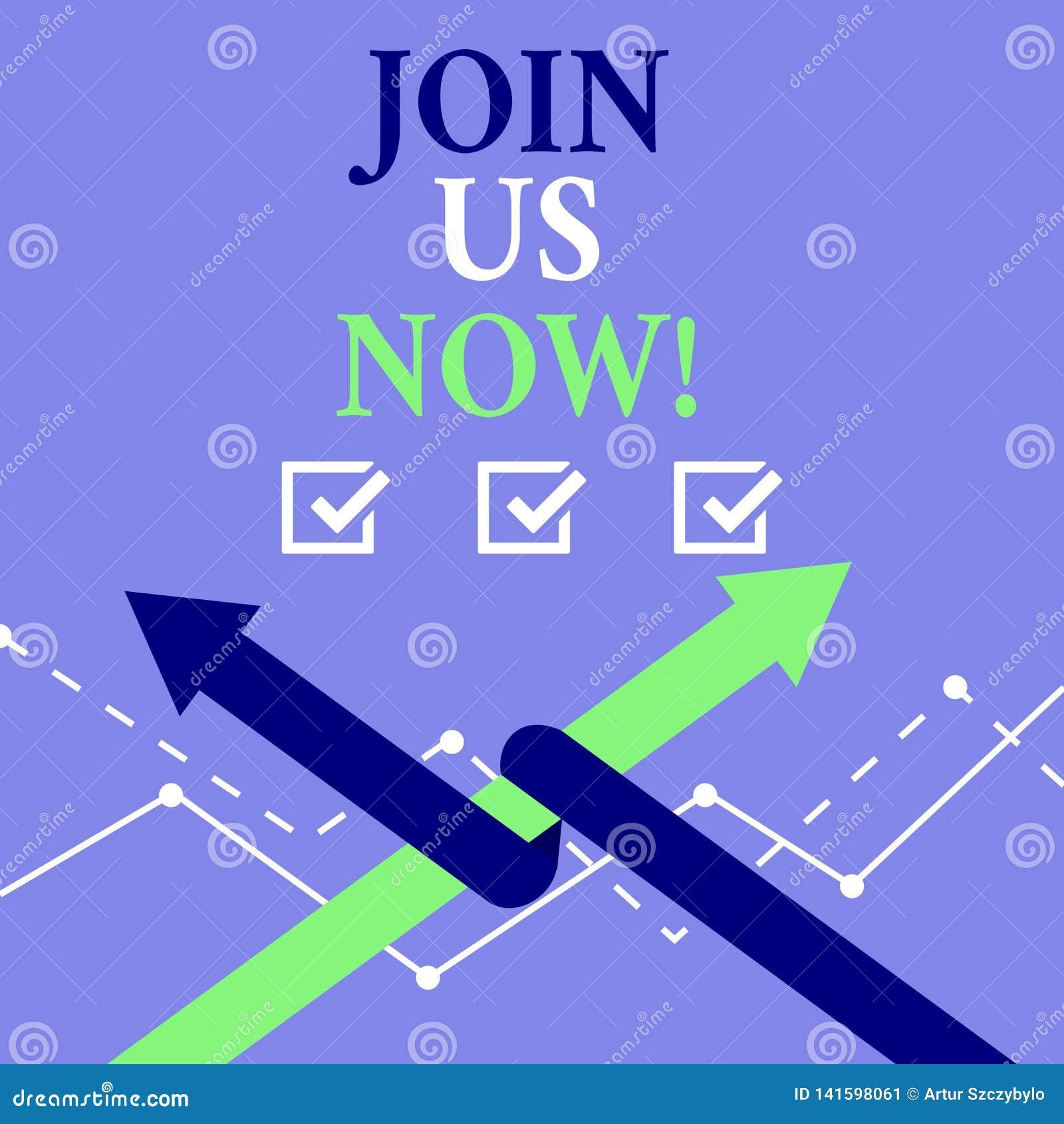O texto da escrita da palavra junta-se nos agora O conceito do negócio para para registrar o Web site do registro da comunidade r