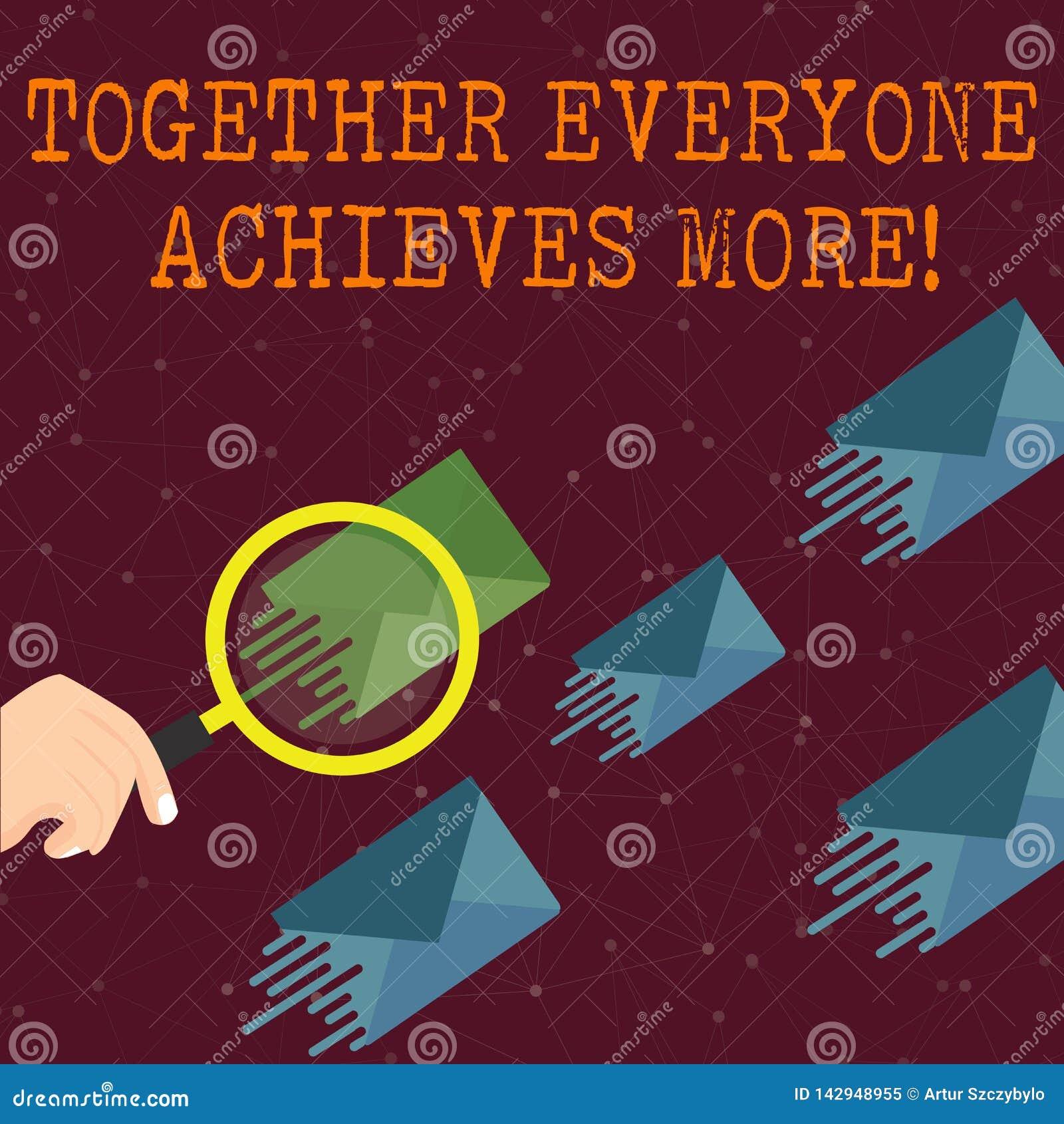 O texto da escrita da palavra junto todos consegue mais O conceito do negócio para membros cria o compromisso forte do sentido da