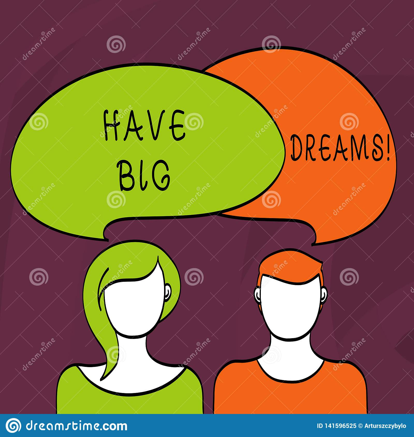 O texto da escrita da palavra tem sonhos grandes Conceito do negócio para a ambição futura Desire Motivation Goal