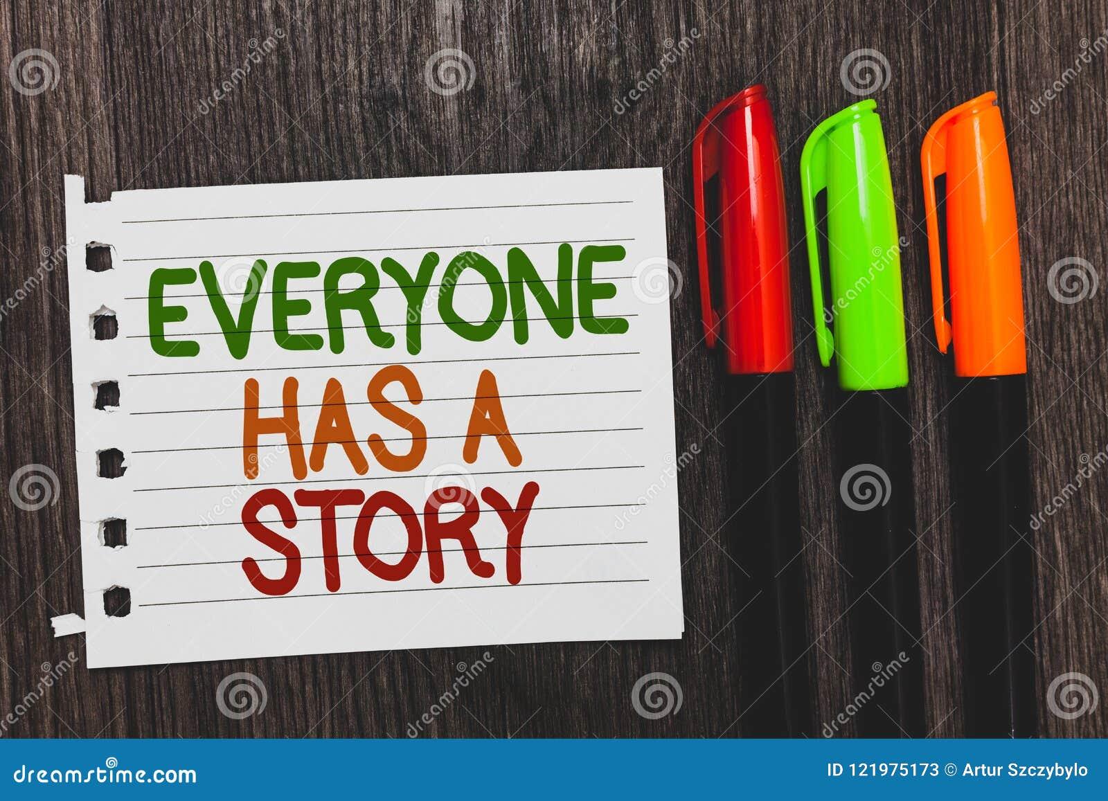 O texto da escrita todos tem uma história Narração do fundo do significado do conceito que diz a seus contos das memórias palavra