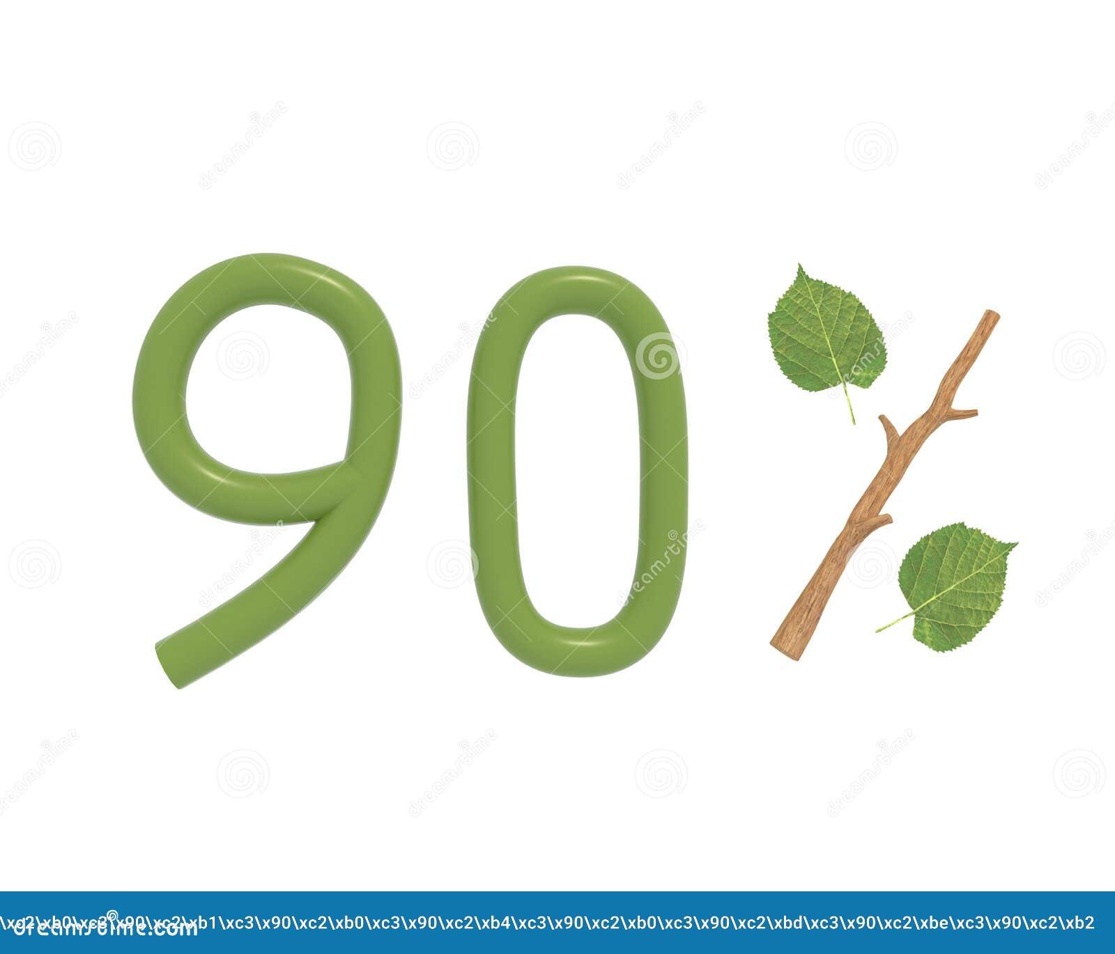 O texto do verde da ilustração 3d projetou com folhas e um ícone dos por cento do ramo da vara isolado no fundo branco