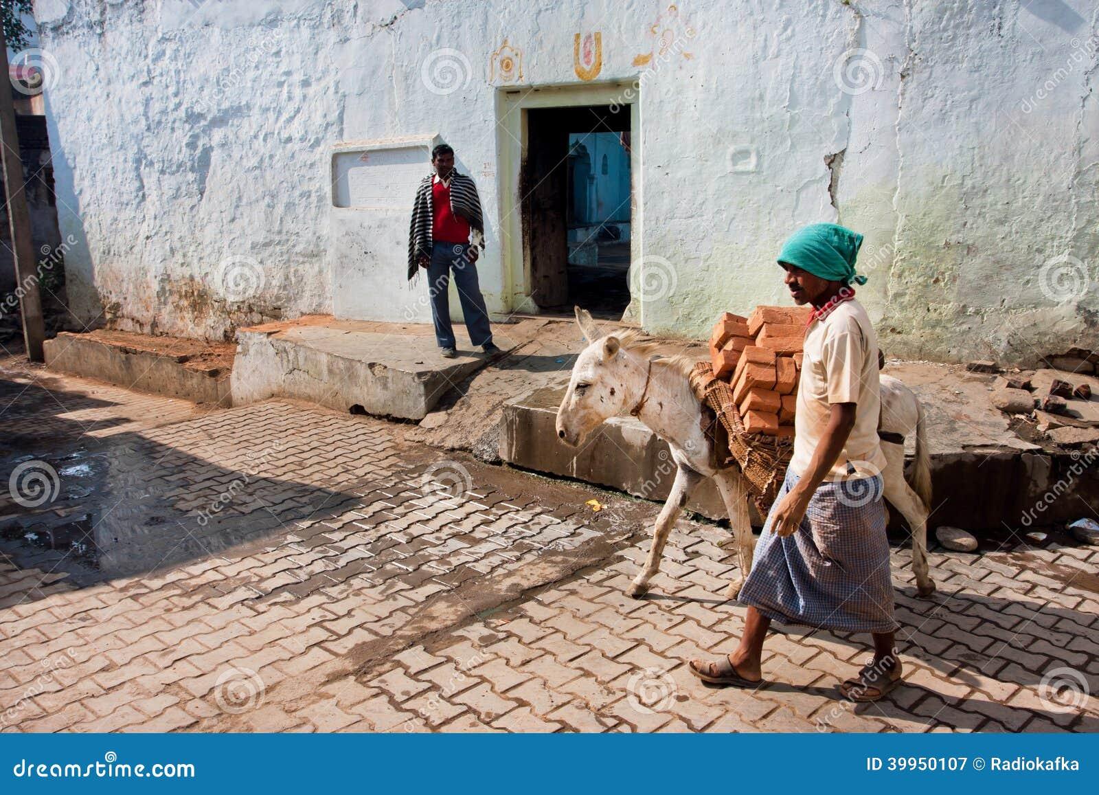 O trabalhador asiático conduz um asno carregado com tijolos