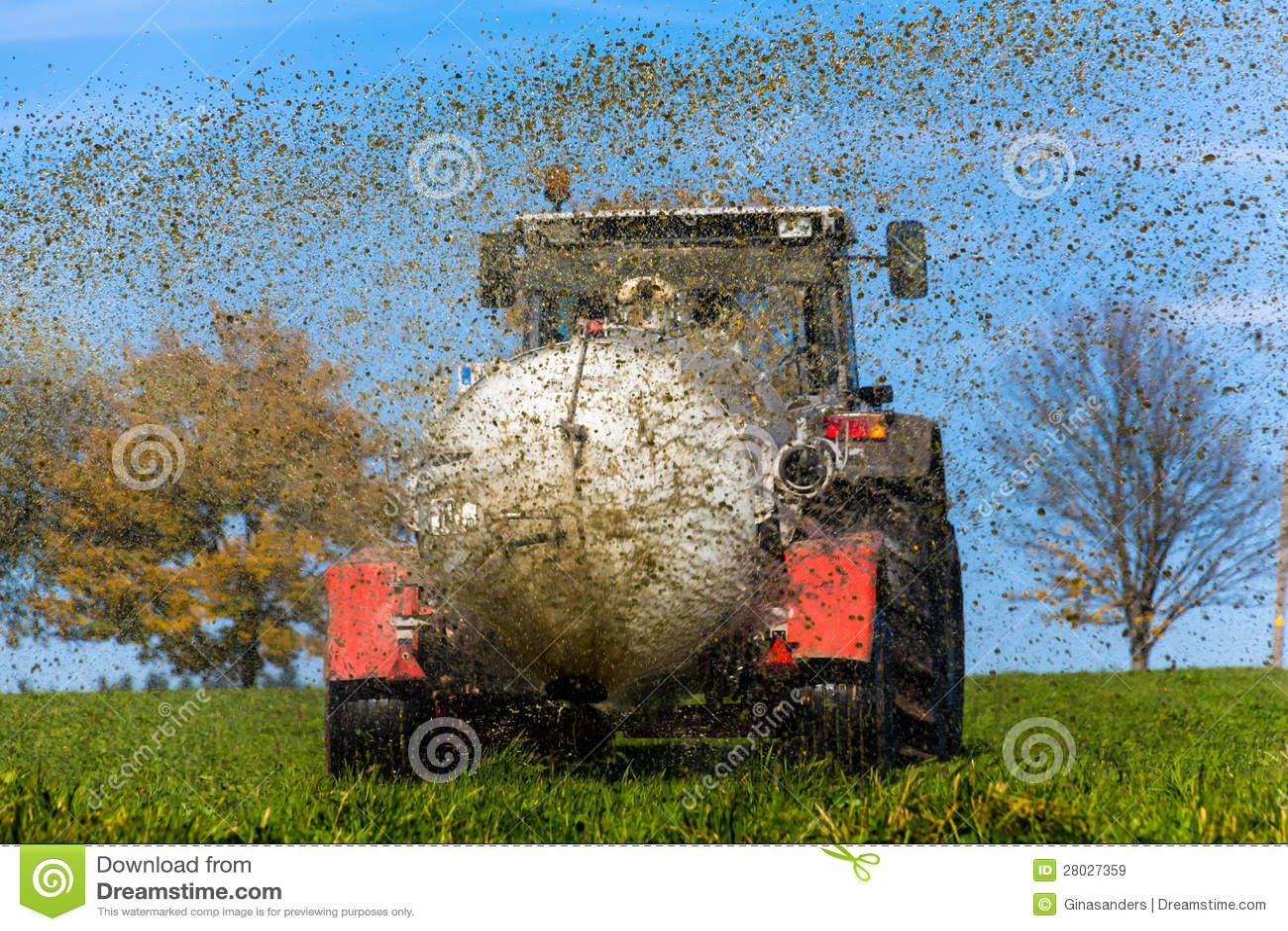 O trator fertiliza com estrume um campo