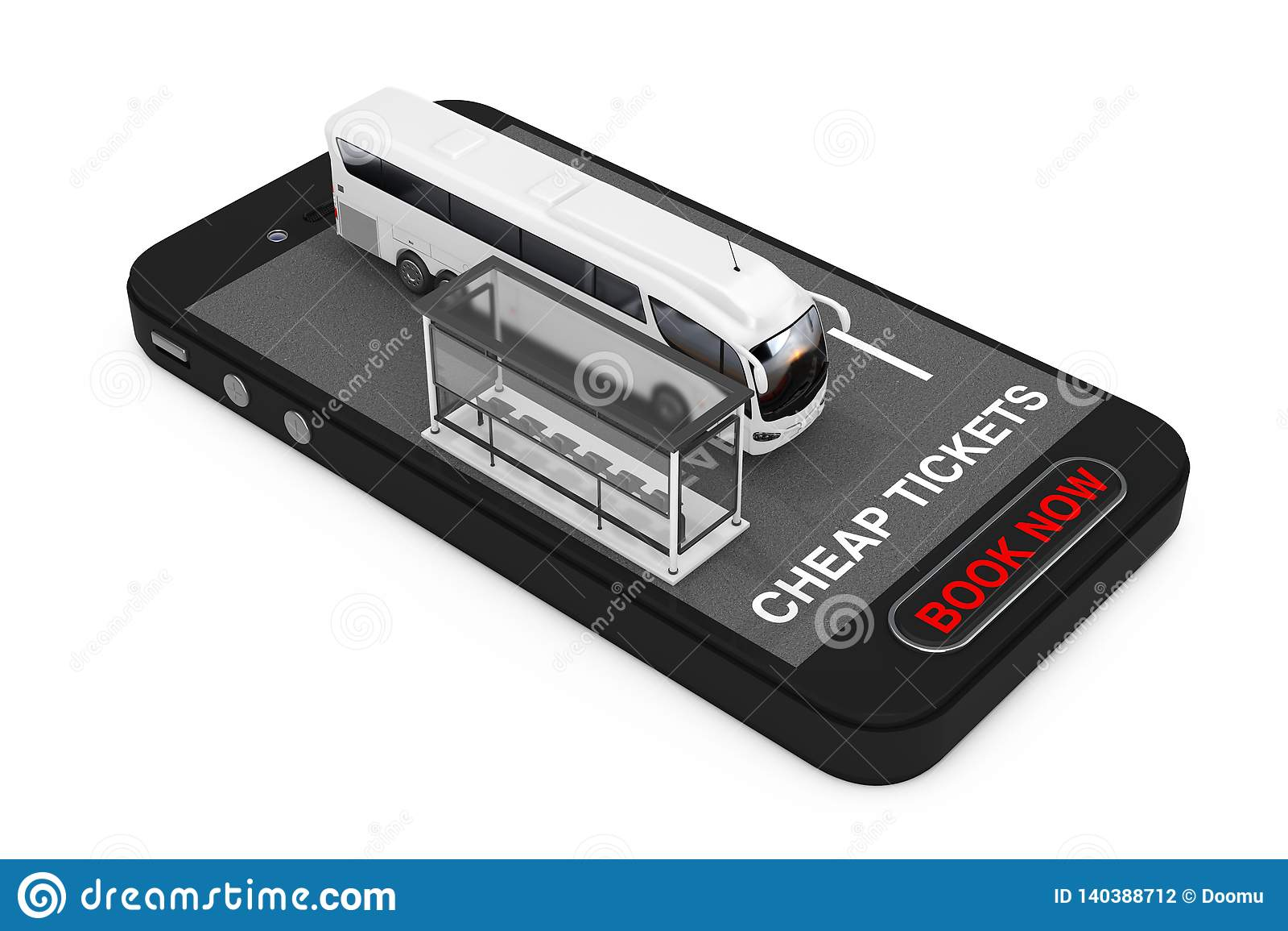 O treinador branco grande Tour Bus com estação de ônibus sobre o telefone celular com bilhetes baratos assina e registra agora o