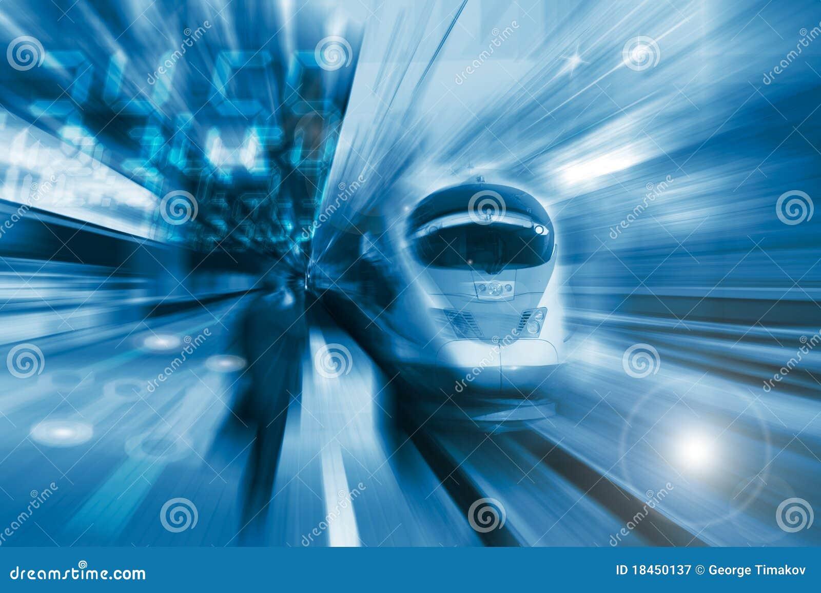 O trem de alta velocidade com borrão de movimento