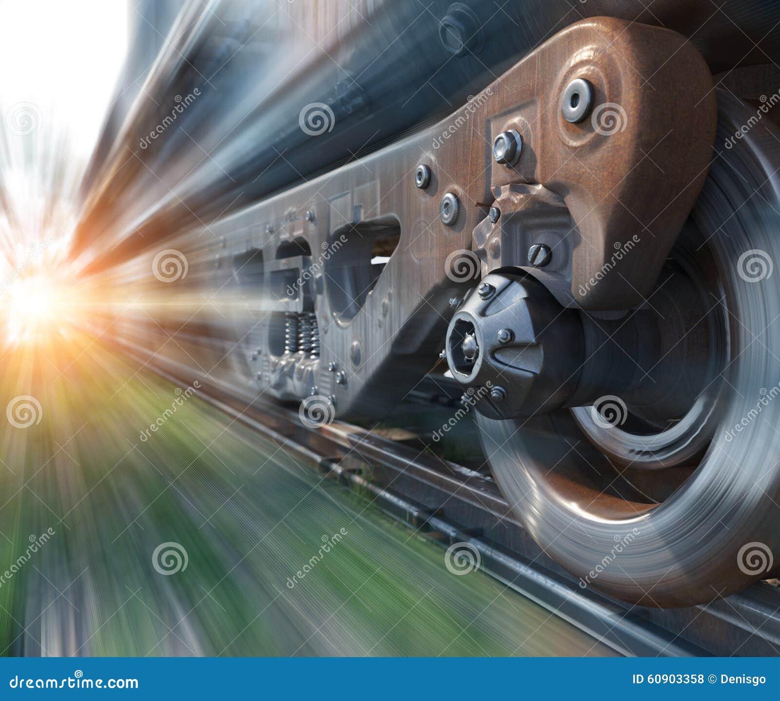 O trem industrial do trilho roda o fundo conceptual da perspectiva da tecnologia do close up