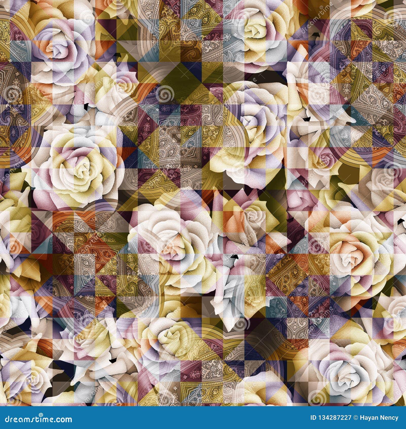 O triângulo geométrico digital sem emenda do teste padrão de flor da aquarela telhou o fundo do teste padrão