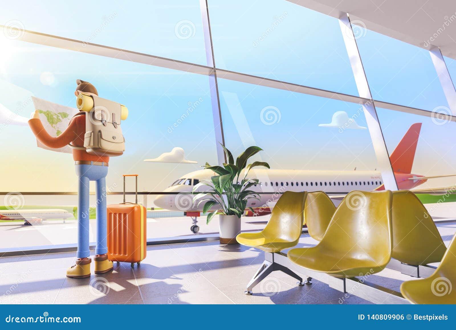 O turista do personagem de banda desenhada guarda o mapa do mundo nas mãos no aeroporto ilustração 3D