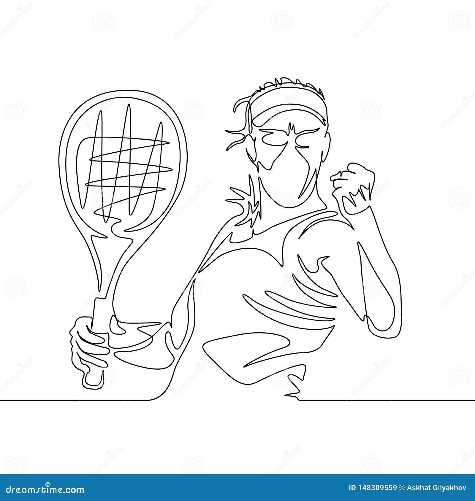 O um a lápis contínuo jogador de tênis da mulher do desenho aperta seu punho na posição de vencimento