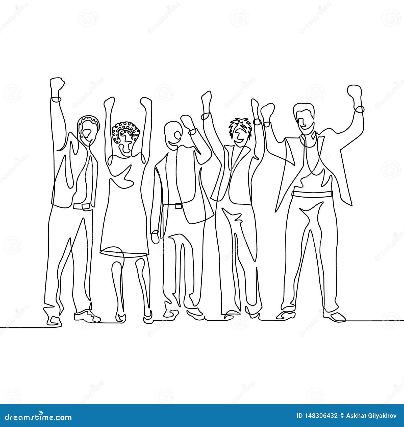 O um a lápis contínuo trabalhadores de escritório felizes da equipe do desenho comemora o sucesso