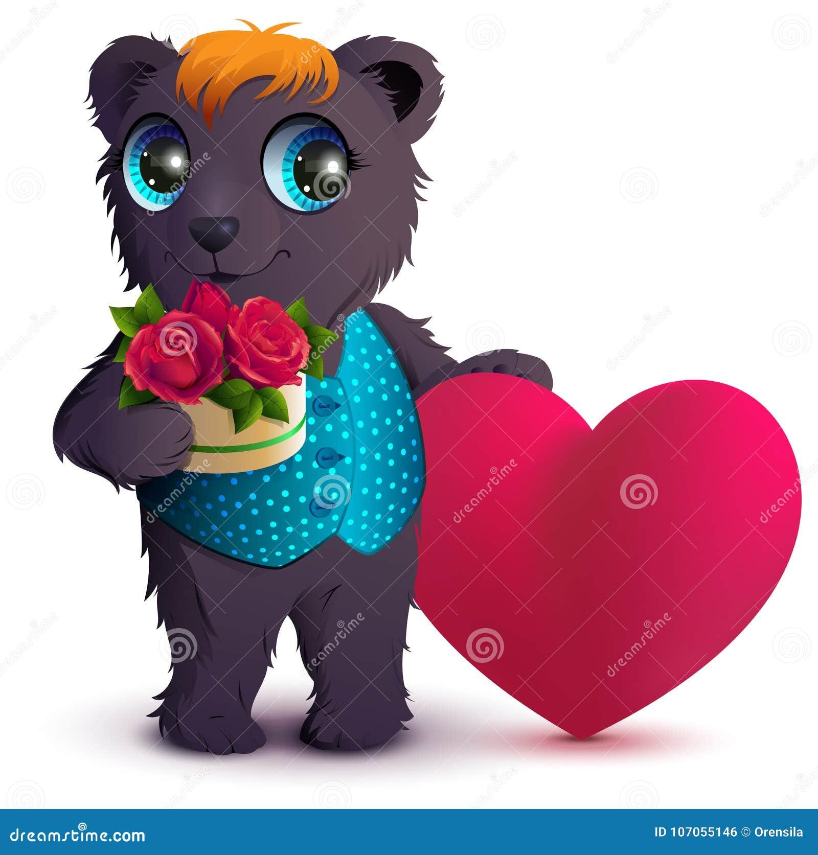 O urso consideravelmente preto guarda a rosa do vermelho do ramalhete da cesta e o símbolo vermelho do coração do amor Presente p