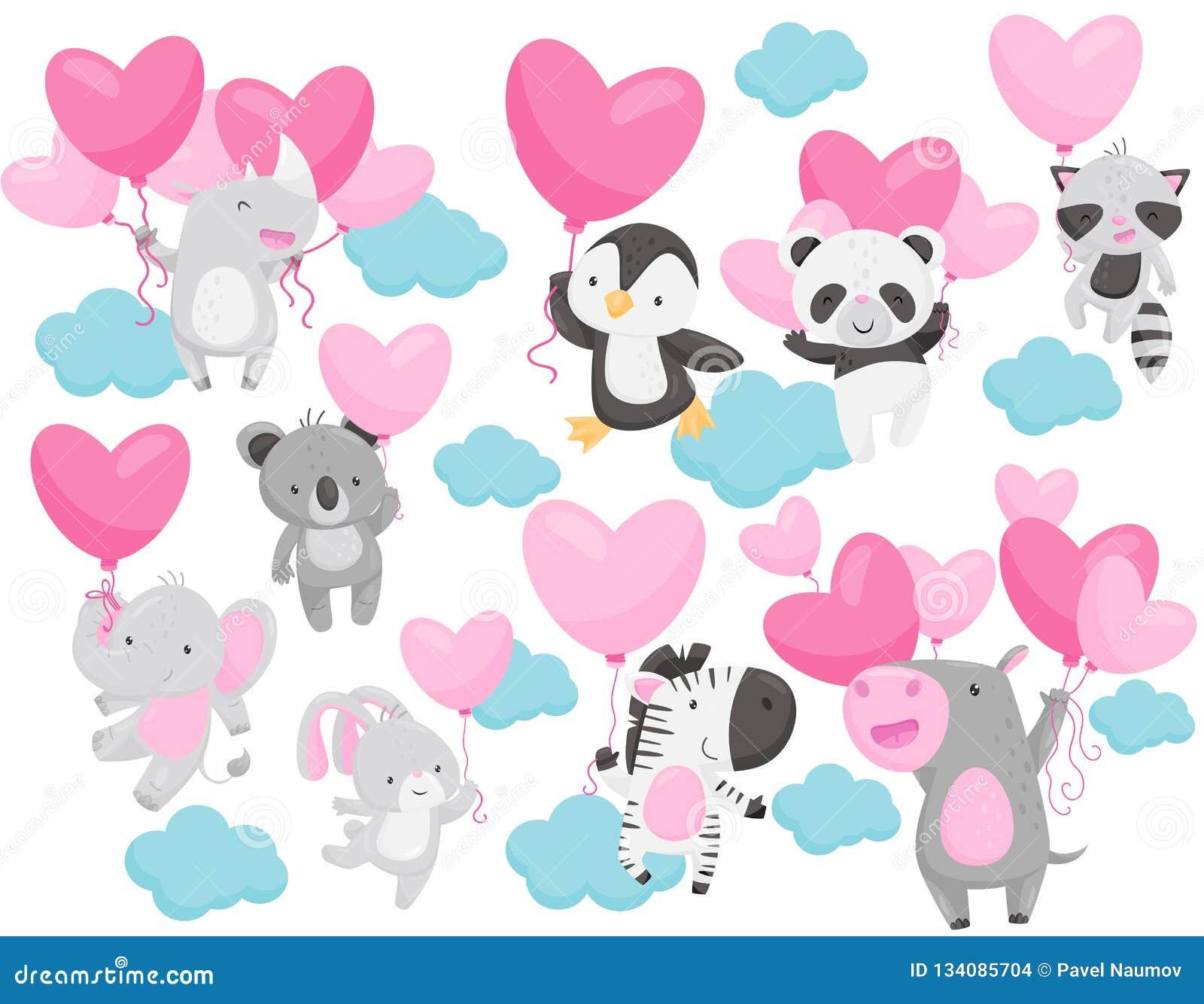 O vectoe liso ajustou-se dos animais adoráveis que voam com os balões coração-dados forma no céu Elementos para o cartão do dia d