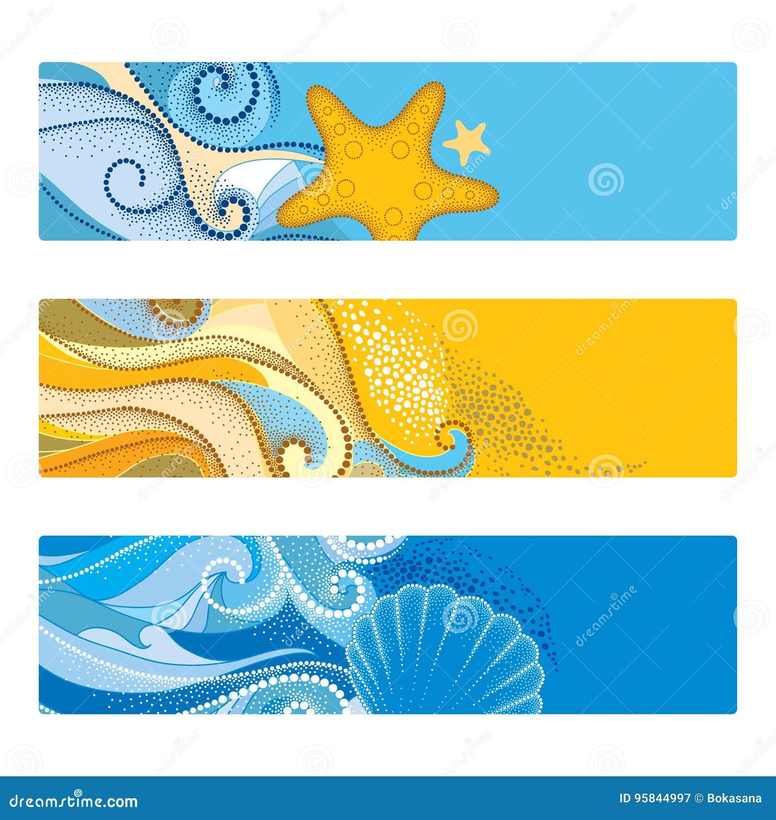 O verão do vetor ajustou-se com a bandeira horizontal no estilo do dotwork O sumário pontilhado acena, concha do mar, estrela do