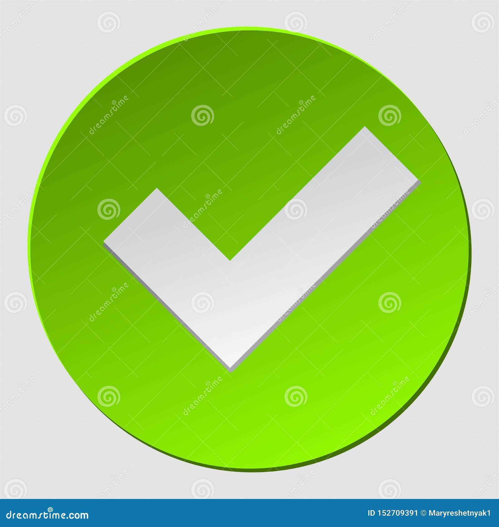 O verde verifica dentro o círculo O sinal da marca de verificação aprovou Aprovação, sim ícone, simbol, logotipo Símbolo de Okey
